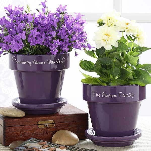 Our Family Blooms Personalized Flower Pot – Purple or Red