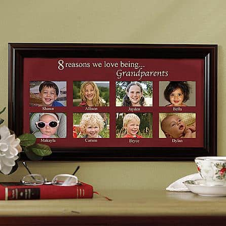 Personalized grandparents frame has room for up to 12 pictures, each labeled with a grandchild's name.