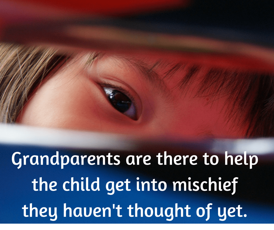 Grandparents are there to help the child get into mischief they haven't thought of yet.