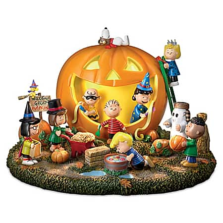 PEANUTS Great Pumpkin Carving Party Halloween Sculpture with Lights & Sound