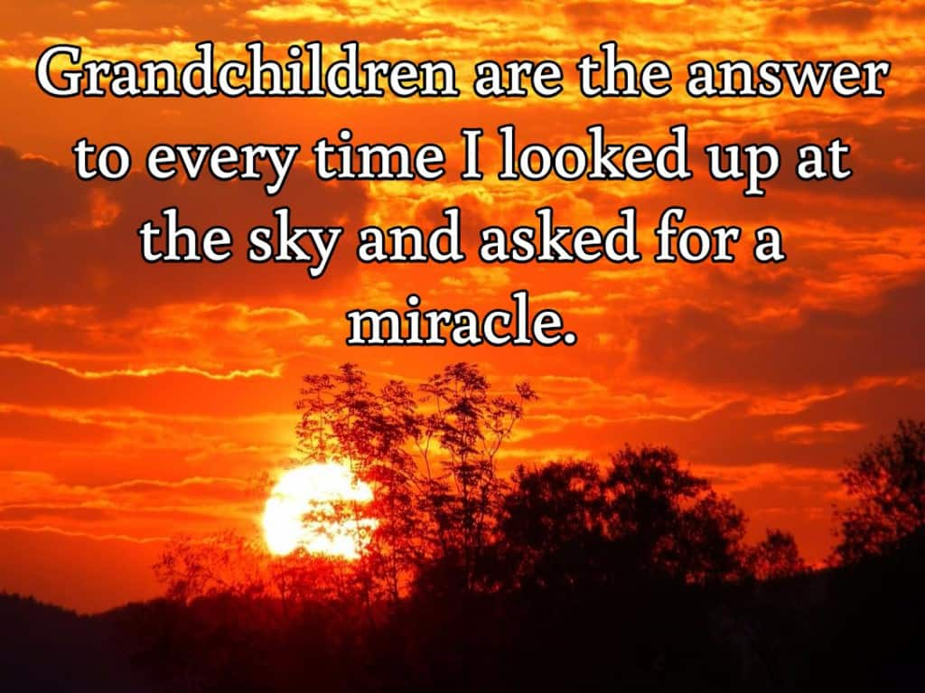 Grandchildren are the answer to every time I looked up at the sky and asked for a miracle.