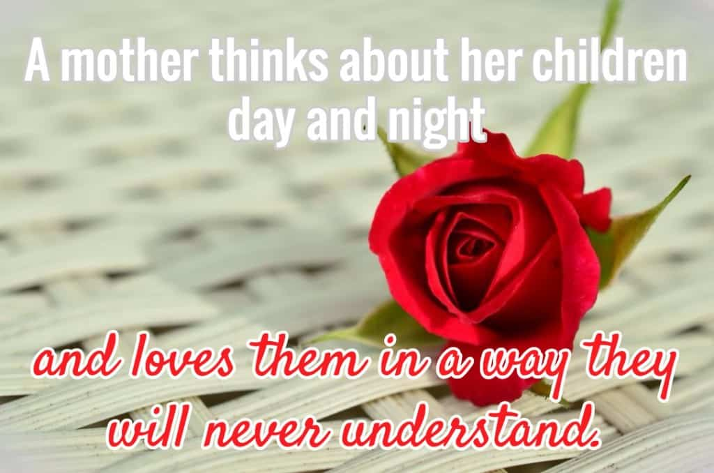 A mother thinks about her children day and night and loves them in a way they will never understand.