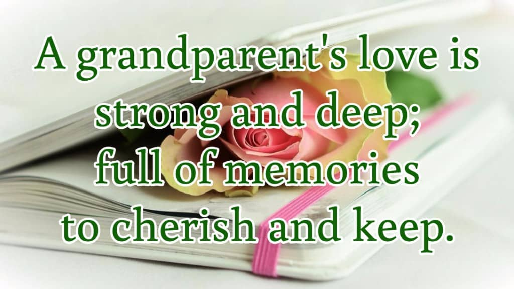 A grandparent's love is strong and deep; full of memories to cherish and keep.