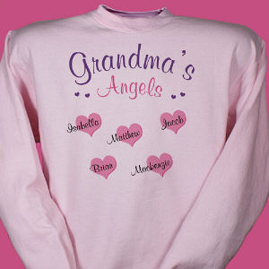 Precious little angels have joined your family and fill your heart with happiness & love. Personalize your Angels Sweatshirt with any title and up to 30 names