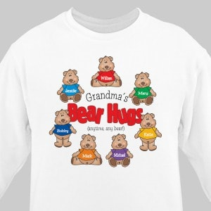 Proudly display your kids and grandkids each printed with their own teddy bear.Choose white or pink. <br/><br/>Free personalization includes your choice of title like Nana