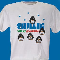 Our Chillin' Penguins Personalized Winter T-Shirt includes FREE Personalization!  Personalized with any title and up to 30 Names.