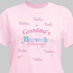 Celebrate the many heavenly blessings you have in your life with this Personalized Heavenly Blessings T-Shirt. Personalization of your shirt is free and includes any title  and up to 30 children or grandchildren's names. Each name is printed with their own angel wings.