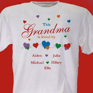 Personalized Shirt for Mom or Grandma can be customized with any title and up to 30 children or grandchildren's names.
