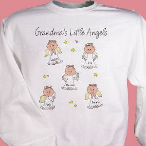 Show off your kids or grandkids with our personalized angels shirt design!  Includes free personalization of any title like Nana