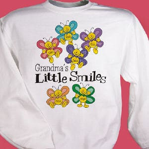 Put a smile on your Grandmother's face when she sees all her precious little butterflies' names smiling back at her!  Sweatshirts are available in white