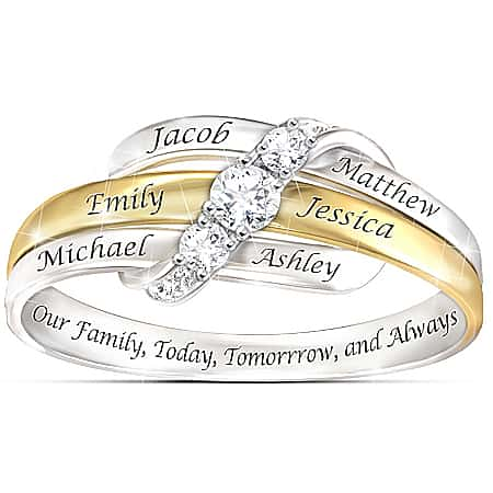 Our Family Forever Personalized White Topaz Ring