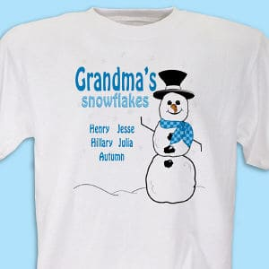Snowflakes T-Shirt is printed on our 100% Cotton machine washable white shirt available in adult sizes S-3XL. Includes FREE Personalization with any title and up to 30 Names.