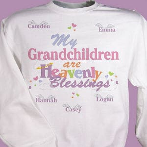The joy & blessings your grandchildren bring into your daily life is something to share with everyone.  Includes FREE personalization.t with any title and up to 30 names. (i.e. Grandchildren  Camden  Hannah  Casey  Emma  Logan)