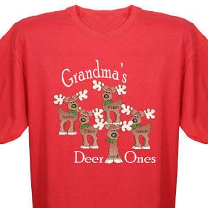 """Grandma will be thrilled to display her """"deer"""" grandchildren on our personalized reindeer t-shirt. Personalize with any title and up to 30 names."""