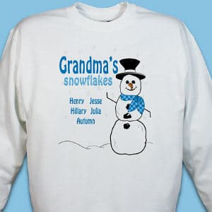 Give your little snowflakes a snow day regardless of the weather outside with this personalized snowman sweatshirt. Our custom winter sweatshirt will be personalized with any title (Nana