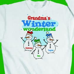 Personalized winter wonderland sweatshirt can be customized with any title - (Nana