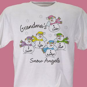 Snow Angels T-Shirt is printed on our 100% Cotton machine washable white shirt available in adult sizes S-3XL. Personalized with any title and up to 30 Names.