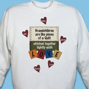 Personalized quilters shirt shows off your little quilting helpers. <br/><br/>Includes free personalization with any title like children or grandchildren and up to 30 names each with their own quilted heart. Choose any title such as Grandchildren