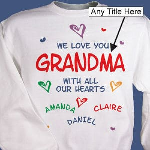 Show that special person is in your life how much she is loved with the Personalized We Love You. With All Our Hearts Sweatshirt. This premium cotton/poly-blend sweatshirt comes in white