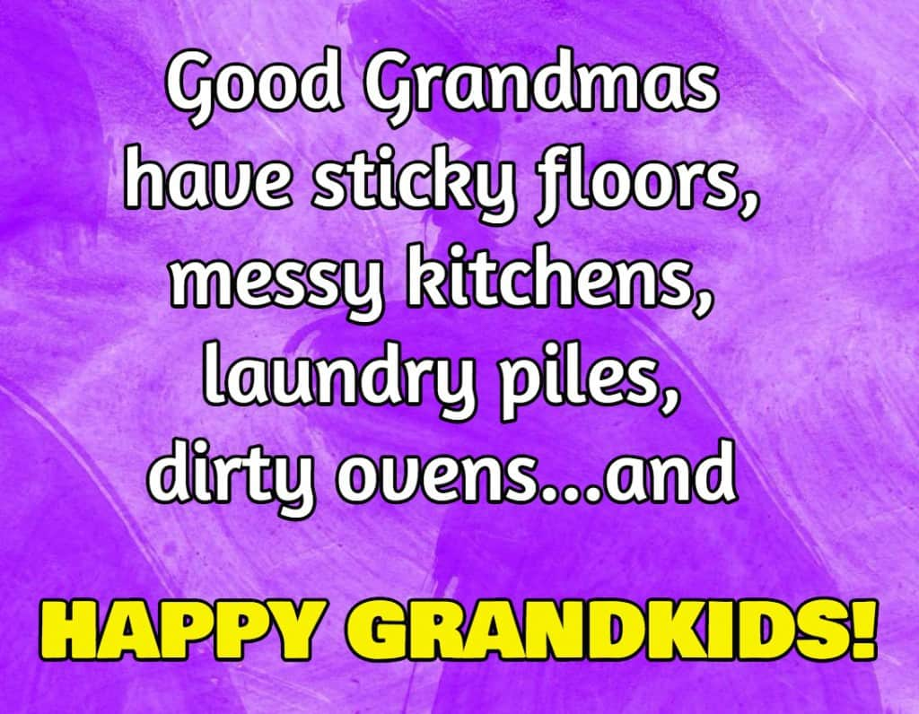 Good Grandmas have sticky floors, messy kitchens, laundry piles, dirty ovens…and happy grandkids!