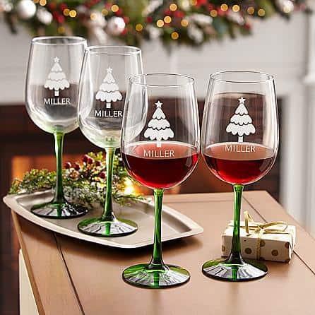 Personalized Christmas Wine Glass Set