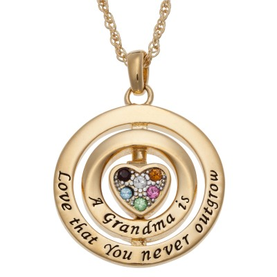 A Grandma is Love Spinning Birthstone Necklace