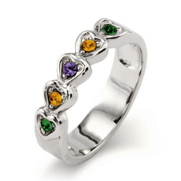 Band of Hearts Mothers Ring - Mom will love wearing this beautiful ring that features up to 5 birthstones.