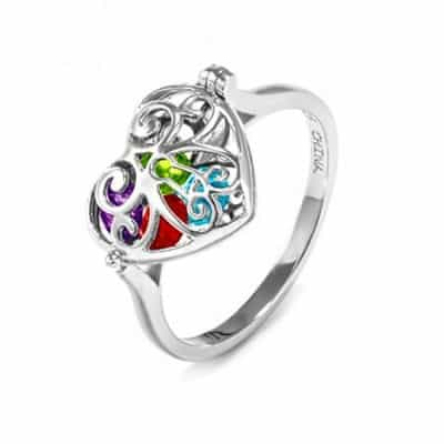 Mother's Birthstone Locket Ring