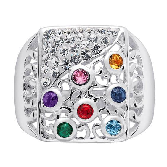 Inexpensive Mother's Ring with up to 7 Birthstones