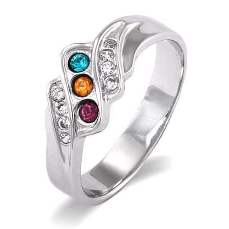 Swarovski Crystal Birthstone Ring - Under $50 - Fabulous Mother's ring features 3 sparkling Swarovski crystal birthstones.