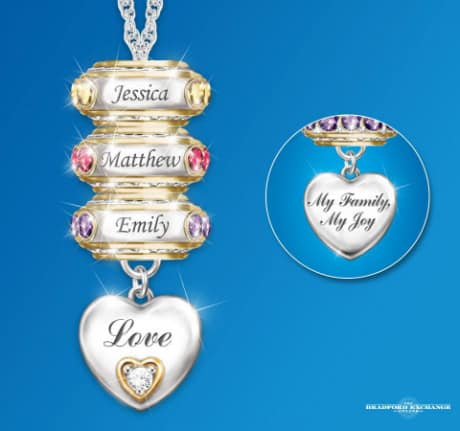 How elegant is this unique Mother's Day necklace?  Each child's name and birthstone is featured on their own charm.