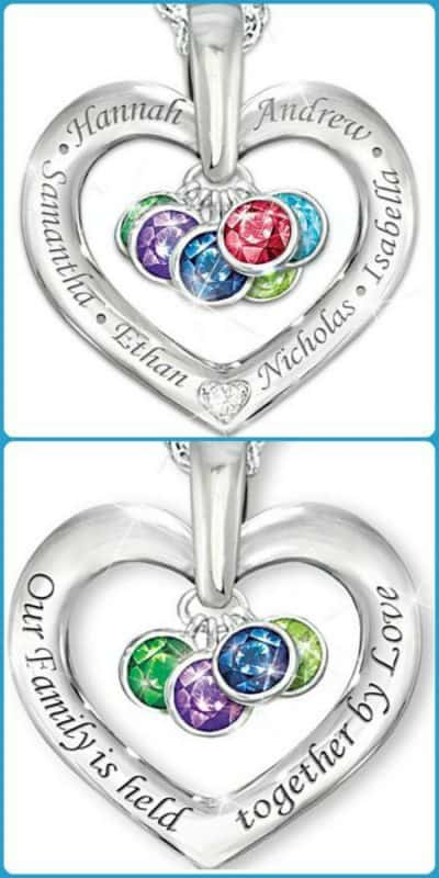Love this striking Mother's Day birthstone necklace!  The front features the kids' names; the back is engraved