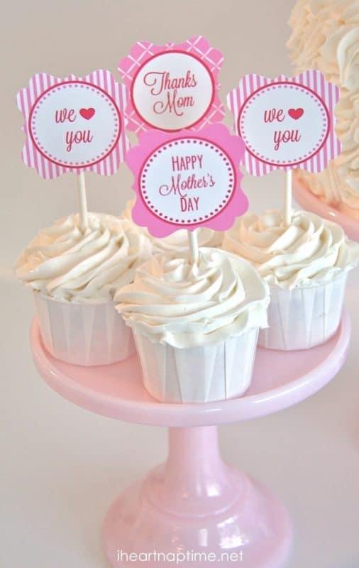 Adorable Mother's Day toppers are a festive touch to a special Mother's Day treat.