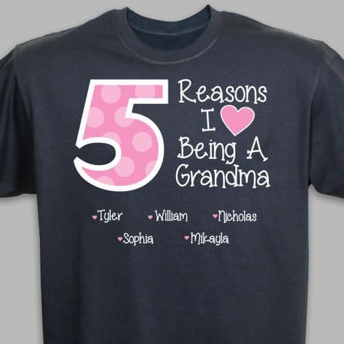 Grandmother Shirts - Grandma will love wearing this fun shirt that's personalized with her own nickname as well as up to 15 grandkids names.  #grandma #mothersdaygift #giftsforher