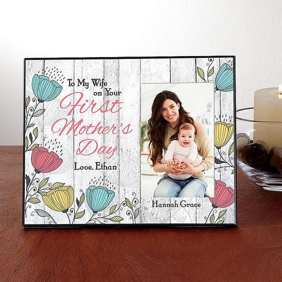 Striking picture frame is a thoughtful first Mother's Day gift from her husband. Personalize the colorful frame with 3 lines of text.