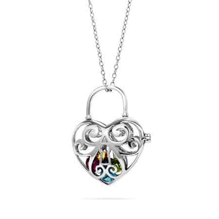 Key to My Heart Birthstone Locket - Mom or Grandma will love wearing this shiny locket that features up to 10 colorful floating birthstones.  Need a last minute gift?  This can ship within 24 hours!