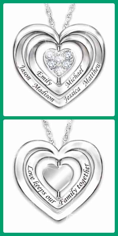 Gorgeous Mother's Day necklace features a spinning diamond, loved one's names, and the sweet inscription,