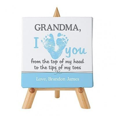 Looking for the perfect Mother's Day gift for Grandma from the baby? The new Grandma will adore this cute canvas that's personalized with her name at the top and a loving message from the baby at the bottom!