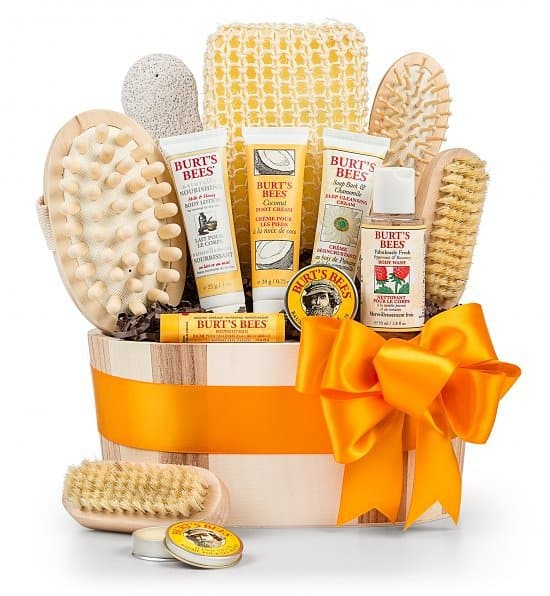 Mother's Day Gift Baskets - Give Mom or Grandma the gift of relaxation this Mothers Day! Beautiful spa gift basket is filled with pampering Burt's Bees products.