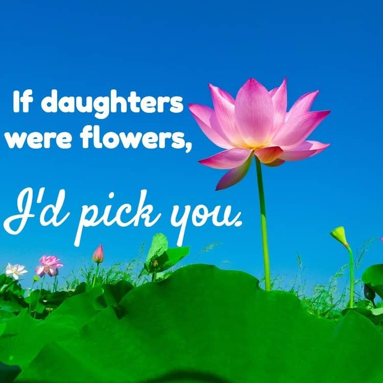 If daughters were flowers, I'd pick you.