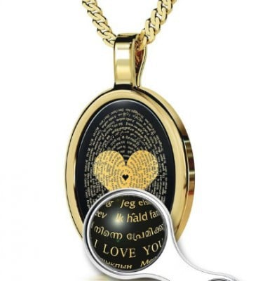 "Gorgeous necklace is imprinted with the phrase ""I Love You"" in 120 Languages."