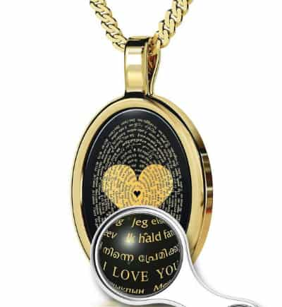 I Love you in 120 Languages Necklace - a wonderful way to let your wife know how much you love her!