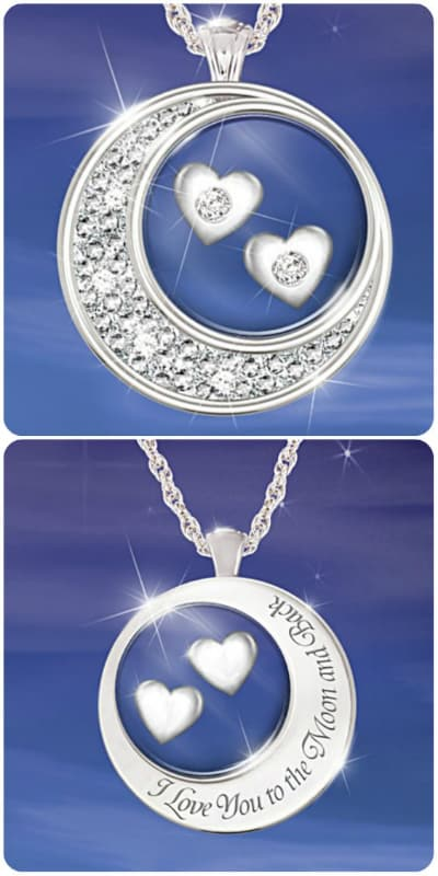 Tell your wife exactly how much you love her every day with this enchanting I Love You to the Moon and Back Diamond Necklace.  The perfect Mother's Day gift for your wife that she will enjoy wearing for years to come!