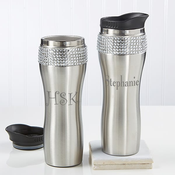 Stay hydrated in style with this glitzy stainless steel tumbler!  Perfect gift for the woman on the go.