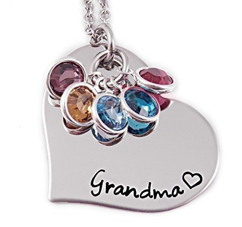 Handstamped Grandma Birthstone Necklace