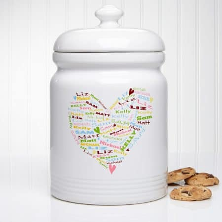 Looking for a gift for the Mom who loves to bake?  Thrill her with this adorable personalized cookie jar!