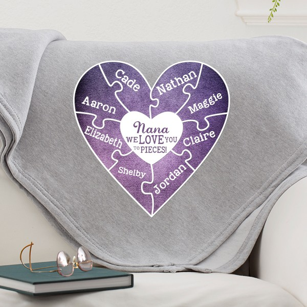 Gift ideas for Nana - Wrap Nana in the warmth of love with a personalized blanket that features her grandkids' names.  A fabulous Mother's Day, Christmas or birthday gift that Nana will love snuggling up in all year long.  #nanalife  #nana #mothersdaygift #giftsforher
