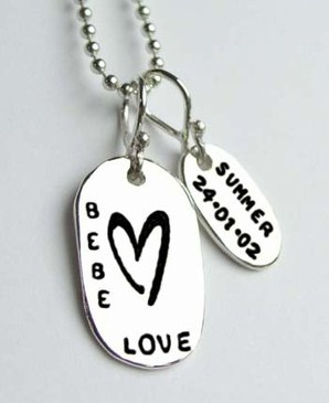 Baby Love Necklace:  Love this new necklace that features the baby's name and birthdate!