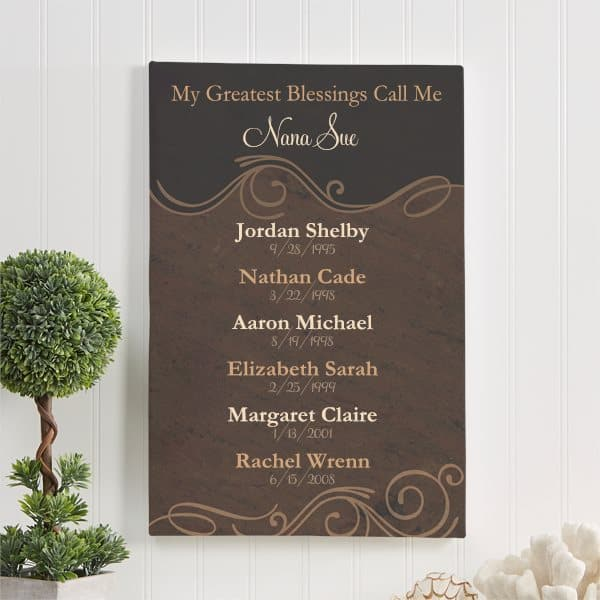 "Thrill Nana this Mother's Day with this beautiful personalized ""My Greatest Blessings"" sign that features her grandkids' names and birthdates.  #mothersdaygift #giftsforher #nanalife"