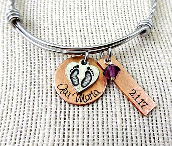 Mothers Day Gift Ideas for New Mom - The new mommy will treasure this lovely hand-stamped bracelet for years to come!